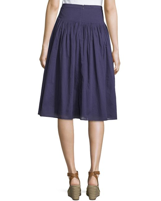 neiman pleated cotton a line skirt in blue navy