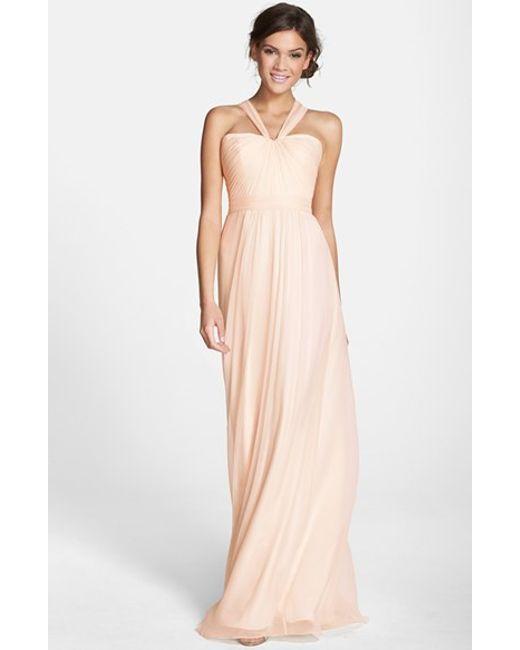 Amsale | Pink X-strap Silk Chiffon Gown | Lyst