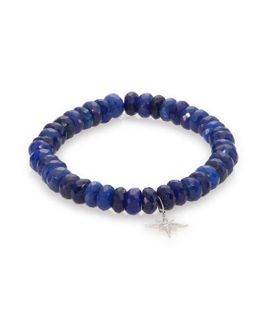 Sydney Evan | Diamond, Dark Blue Chalcedony & 14k White Gold Starburst Beaded Stretch Bracelet | Lyst