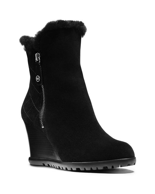 MICHAEL Michael Kors | Black Whitaker Shearling And Suede Wedge Ankle Boots | Lyst
