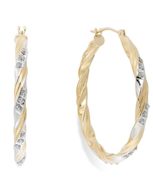 Macy's | Metallic Diamond Accent Carousel Hoop Earrings In 14k Gold | Lyst
