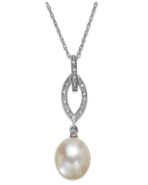 Macy's | Metallic Birthstone And Diamond (1/10 Ct. T.w.) Pendant Necklace In 14k White Or Yellow Gold | Lyst