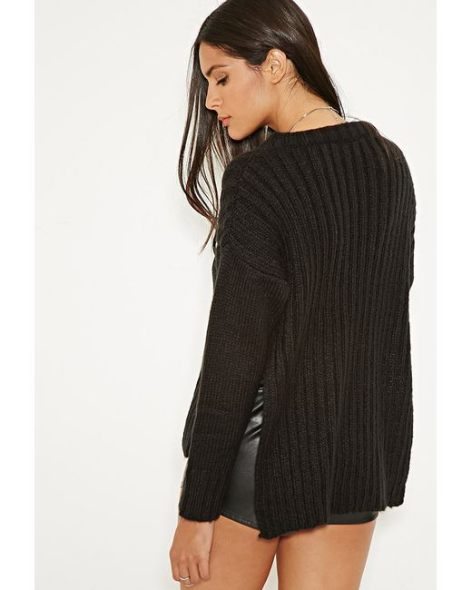 Forever 21 | Black Mlm Side-slit Ribbed Sweater | Lyst