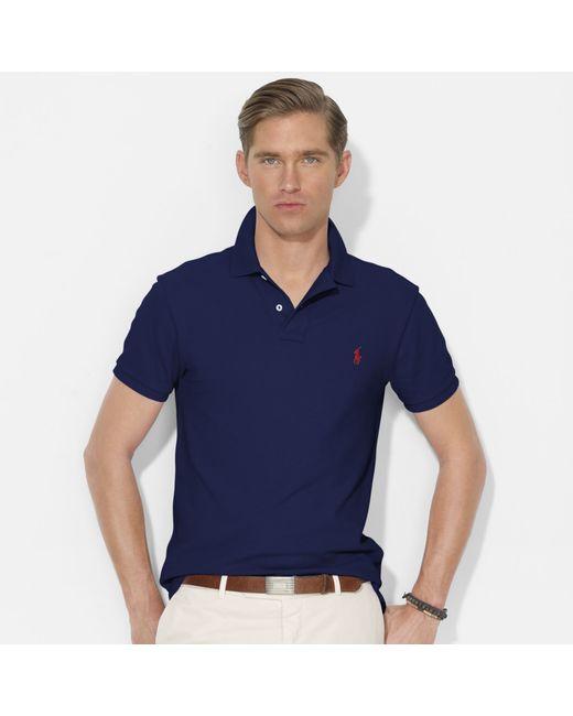 Polo Ralph Lauren | Blue Slim-fit Mesh Polo Shirt for Men | Lyst