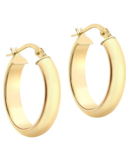 Ib&b | Metallic 9ct Yellow Gold Polished Oval Creole Earrings | Lyst