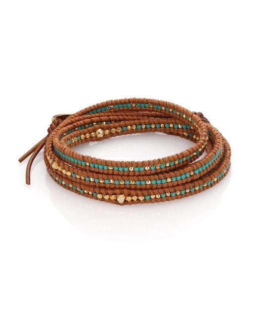Chan Luu | Brown Beaded Leather Multi-row Wrap Bracelet | Lyst