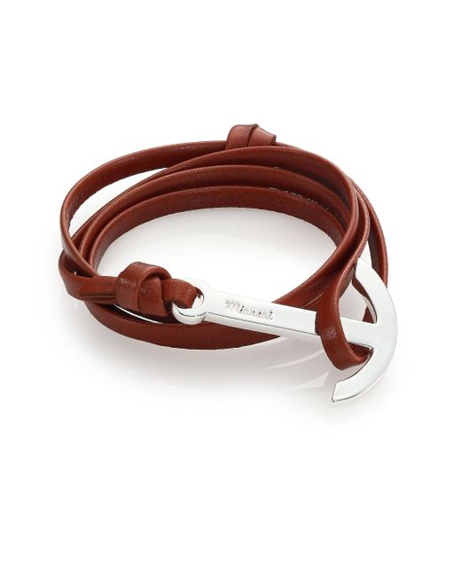 Miansai | Brown Modern Anchor Leather Wrap Bracelet | Lyst