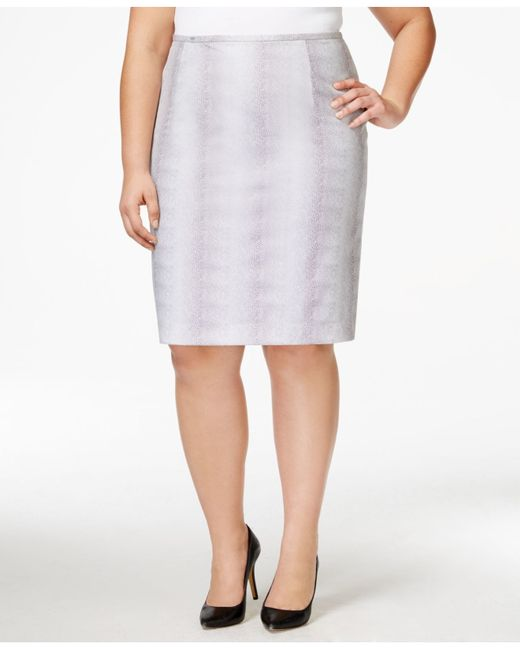 calvin klein plus size printed pencil skirt in white lyst