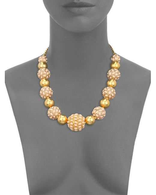 Kenneth Jay Lane   Yellow Cabochon Cluster Beaded Strand Necklace   Lyst