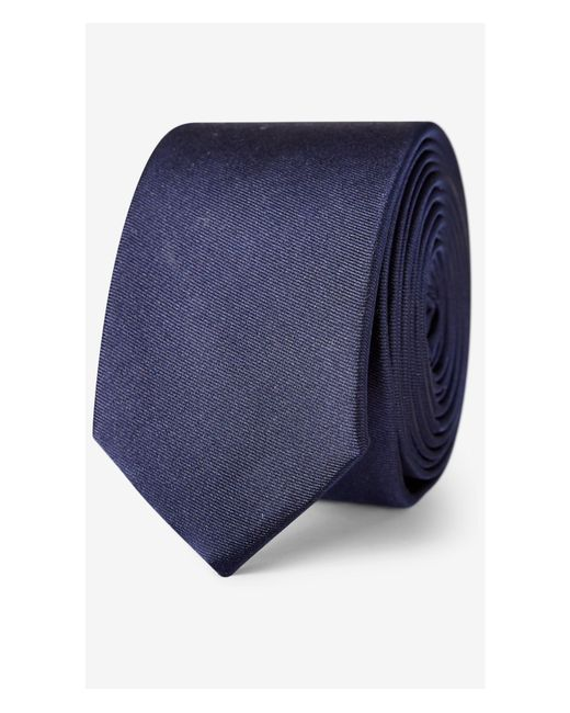 Express | Blue Tall Skinny Solid Silk Tie for Men | Lyst