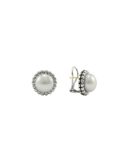 Lagos | Metallic Sterling Silver Fluted Freshwater Pearl Earrings | Lyst