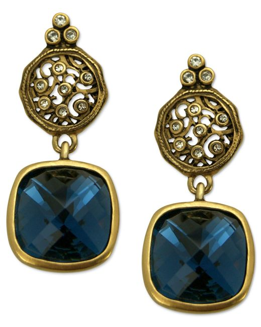 T Tahari | Metallic 14k Gold Plated Essentials Montana Blue Scroll Drop Earrings | Lyst