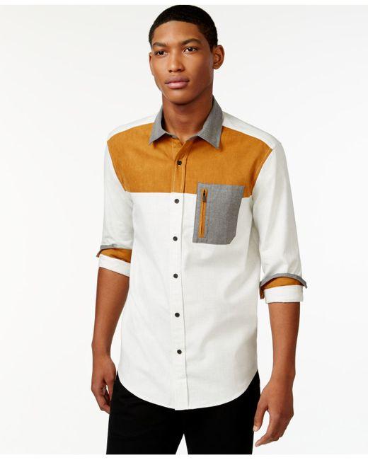 Sean john men 39 s colorblocked shirt in orange for men sj for Sean john t shirts for mens