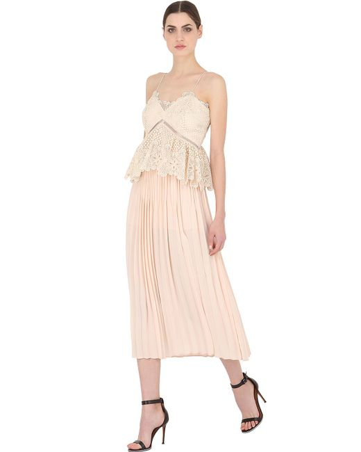 Self-Portrait   White Pleated Lace & Crepe-Blend Peplum Midi Dress   Lyst