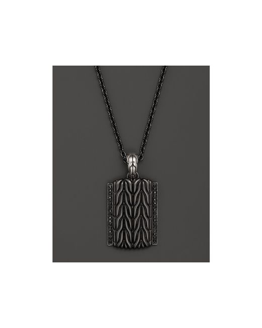 "John Hardy | Black Men's Classic Chain Sterling Silver Lava Adjustable Pendant Necklace, 22"" for Men 