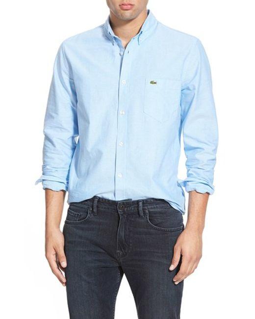 Lacoste | Blue Regular Fit Oxford Woven Shirt for Men | Lyst