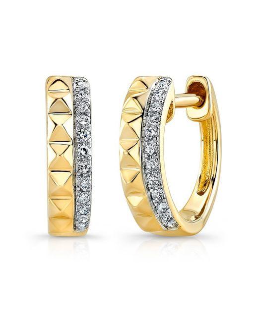 Anne Sisteron - Metallic 14kt Yellow Gold Spike Diamond Huggie Earrings - Lyst