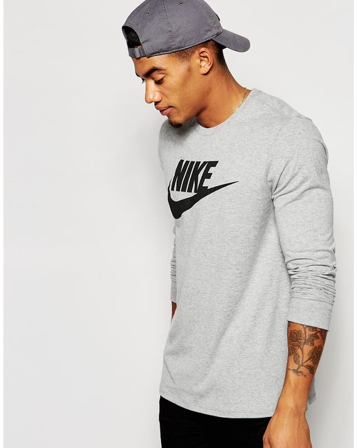 Nike | Gray Longsleeve T-shirt With Large Logo 708466-063 - Grey for Men | Lyst