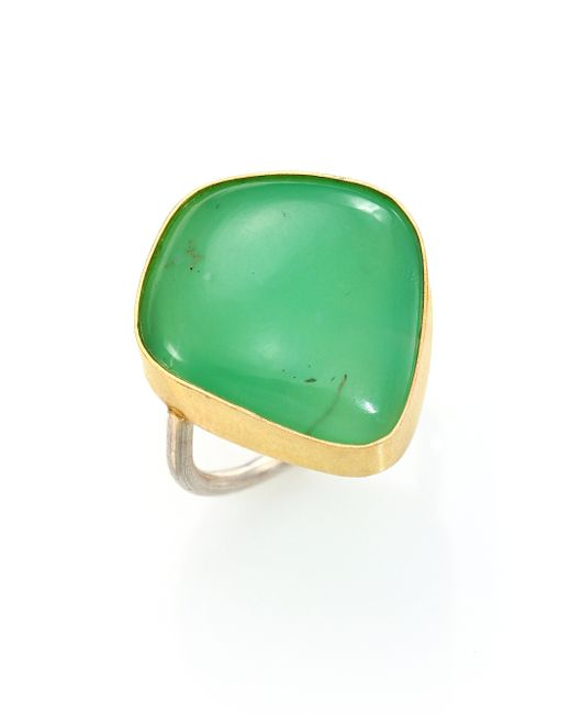 Lena Skadegard | Green Chrysoprase, 18k Yellow Gold & Sterling Silver Cabochon Ring | Lyst