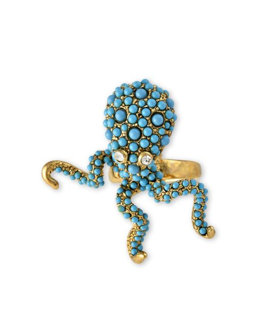Kenneth Jay Lane | Blue Turquoise Pavé Octopus Ring | Lyst