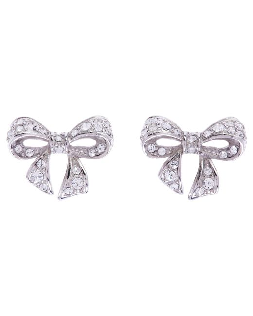 Ted Baker | Metallic Pepe Pave Crystal Bow Stud Earrings | Lyst