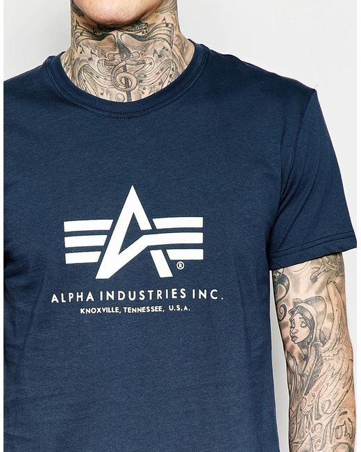 alpha industries t shirt with logo in navy in blue for men navy. Black Bedroom Furniture Sets. Home Design Ideas