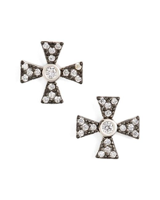 Freida Rothman | Metallic Pave Stud Earrings | Lyst