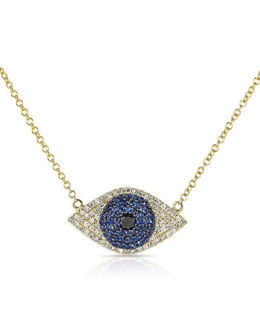 Anne Sisteron | 14kt Yellow Gold Blue Sapphire Diamond Evil Eye Necklace | Lyst