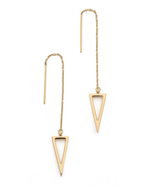 Rebecca Minkoff | Metallic Long Triangle Frame Threader Earrings | Lyst