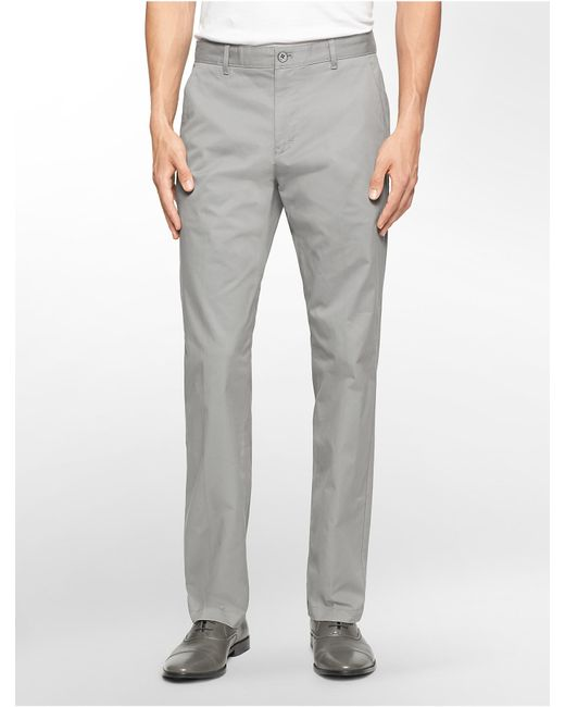 Calvin Klein | Gray Straight Fit Sateen Chino Pant for Men | Lyst