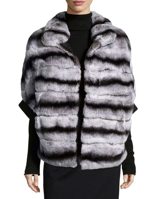 Gorski   Gray Rabbit Fur Zip-Front Jacket   Lyst