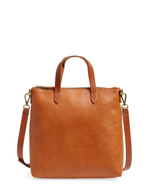 Madewell | Brown 'mini Transport' Leather Crossbody Bag | Lyst