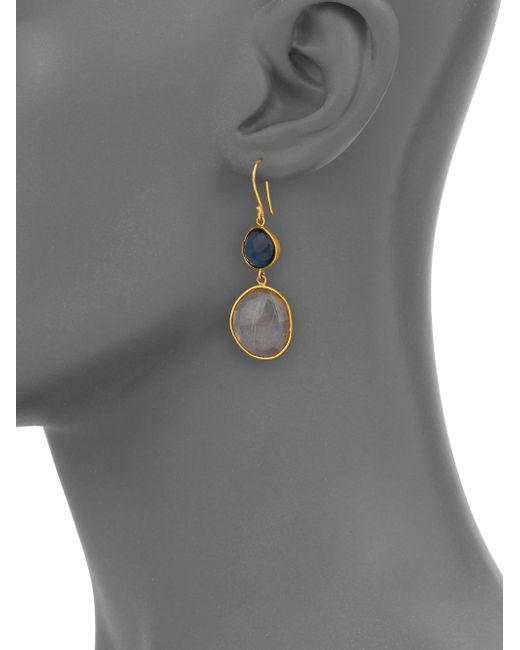 Lena Skadegard | Metallic Moss Aquarmaine, Rutilated Quartz & 18k Yellow Gold Drop Earrings | Lyst