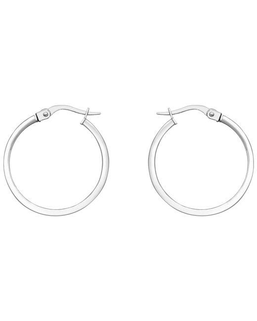 Ib&b | Metallic 18ct White Gold Rectangular Tube Creole Earrings | Lyst