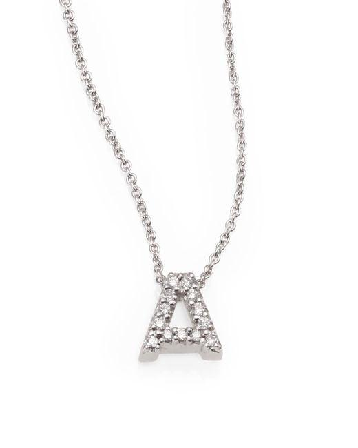 Roberto Coin   Metallic Tiny Treasures Diamond & 18k White Gold Love Letter Pendant Necklace   Lyst