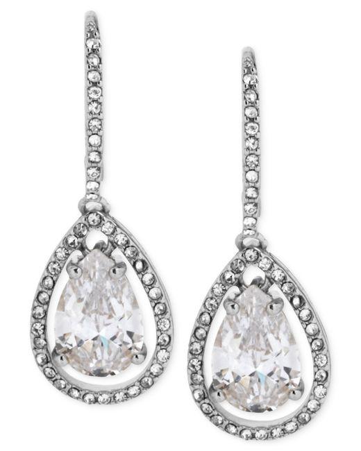 Betsey Johnson | Metallic Silvertone And Cubic Zirconia Teardrop Earrings | Lyst
