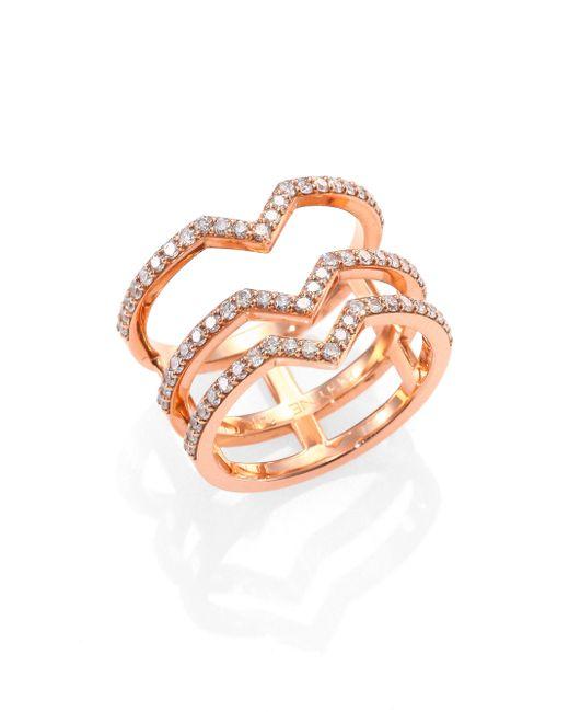 Phyne By Paige Novick | Pink Cristina Diamond & 14k Rose Gold Three Bar Ring | Lyst