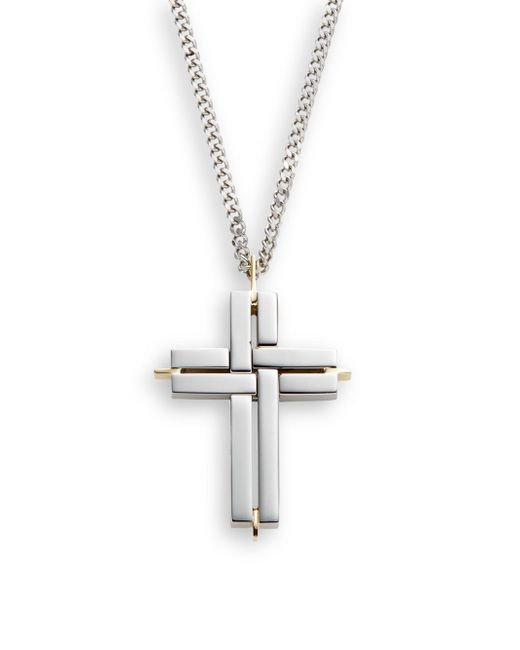 Saks Fifth Avenue | Metallic 14k Yellow Gold, Titanium & Stainless Steel Cross Necklace for Men | Lyst