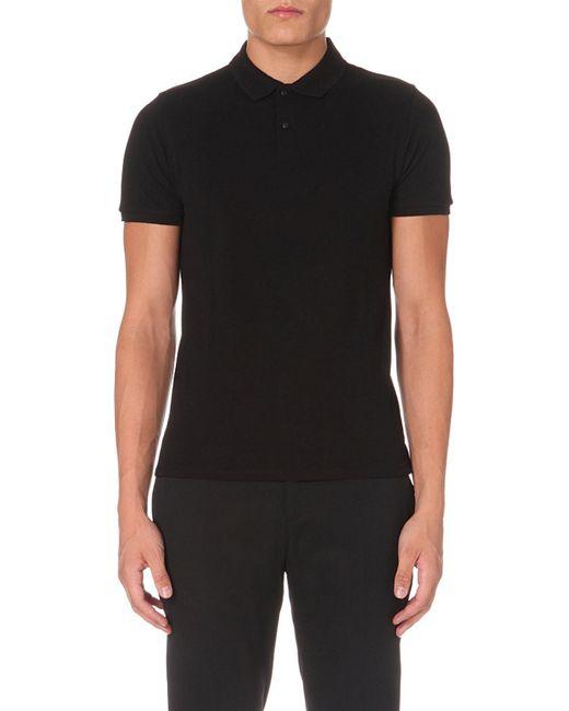 Sandro | Black Slim-fit Cotton-piqué Polo Shirt for Men | Lyst
