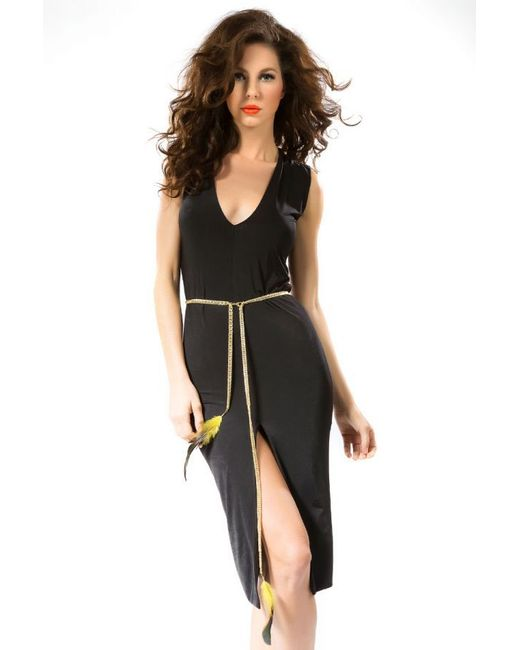 savee couture bodycon dress w jeweled belt in black lyst