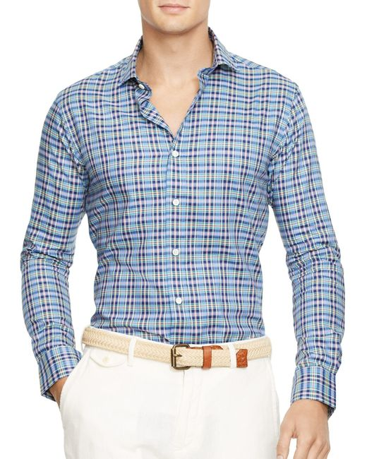 Ralph Lauren   Blue - Slim Fit Checked Poplin Shirt - Men - Cotton - M for Men   Lyst