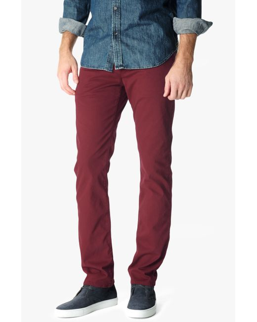 7 For All Mankind | Luxe Performance Sateen The Straight In Red for Men | Lyst