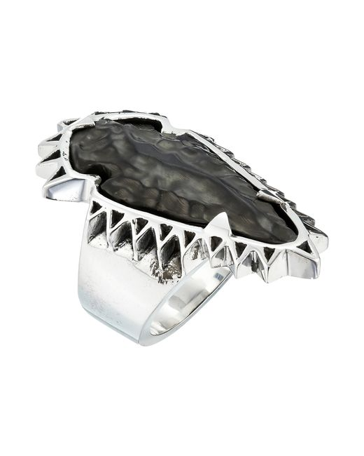 King baby studio carved jet arrowhead in sawtooth ring for King baby jewelry sale