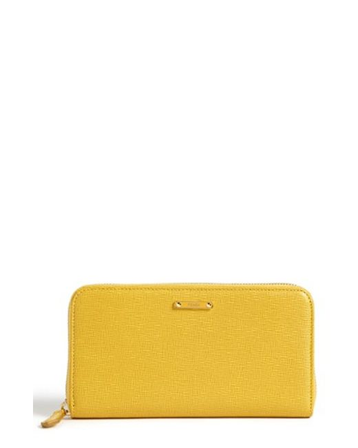 Fendi | Yellow 'crayons' Leather Wallet | Lyst