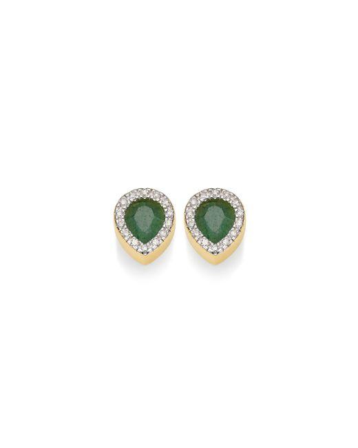 Monica Vinader | Green Naida Lotus Stud Earrings | Lyst