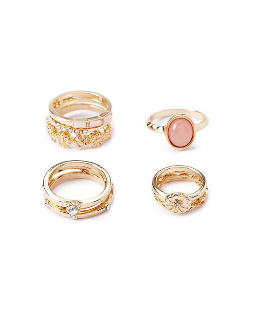 Forever 21 | Metallic Opal Faux Stone Mixed Ring Set | Lyst