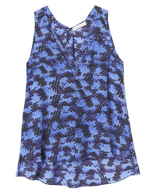 Rebecca Taylor   Blue Abstract-print Silk V-neck Tank   Lyst