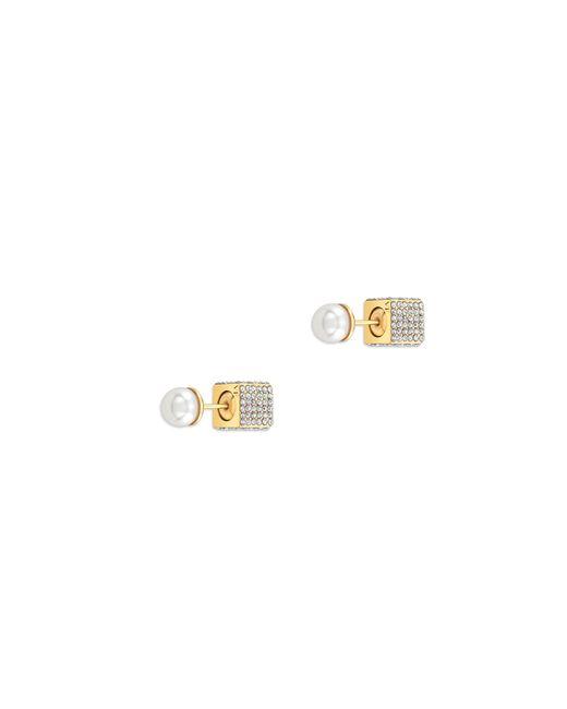 Vita Fede   Metallic Double Cubo Pearl Earrings In Yellow Gold   Lyst