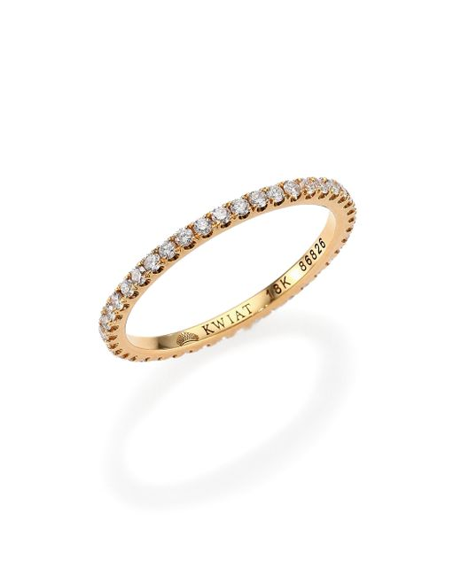 Kwiat | White Diamond & 18k Yellow Gold Eternity Stacking Ring | Lyst