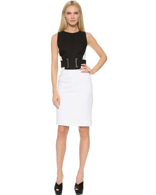 antonio berardi belted dress in white lyst